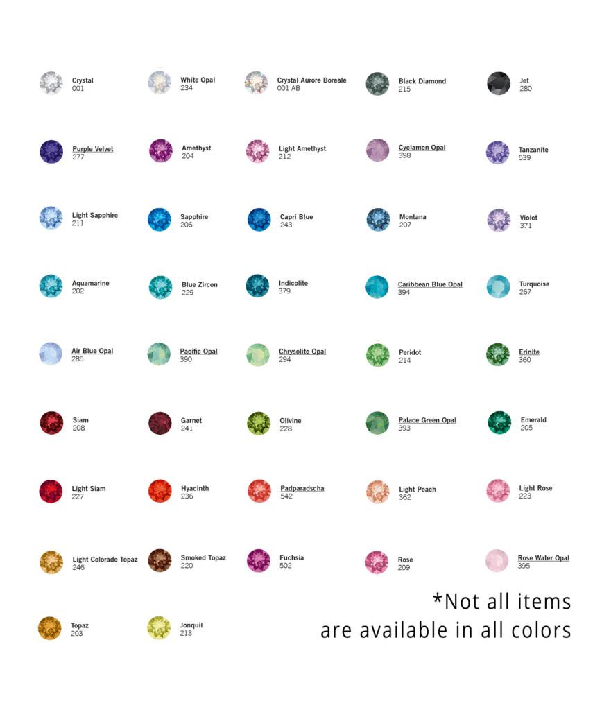 Swarovski color chart sadie greens sea glass jewelry swarovski color chart nvjuhfo Images