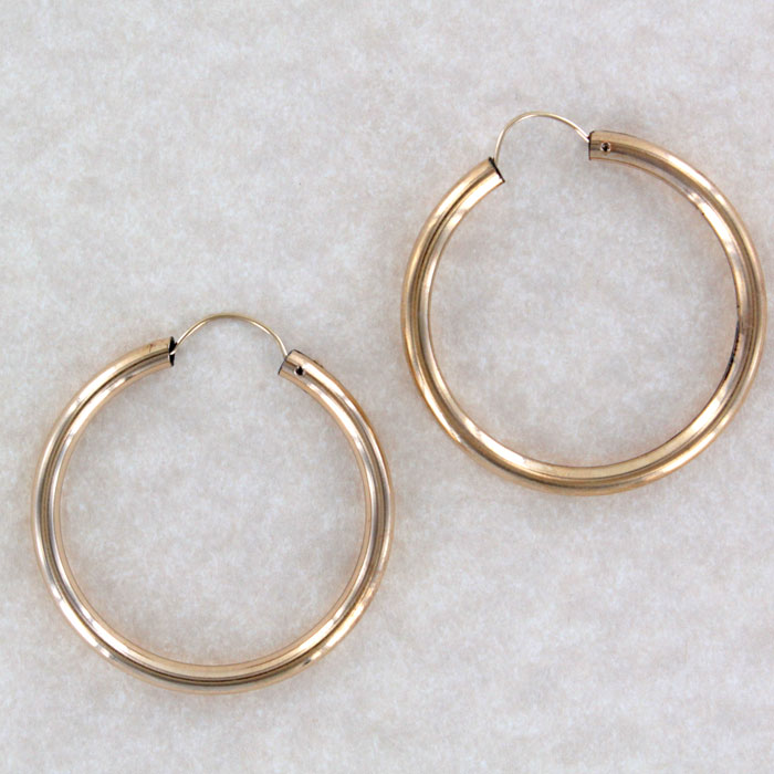 Rge 2 Antique Rolled Gold Hoop Earring